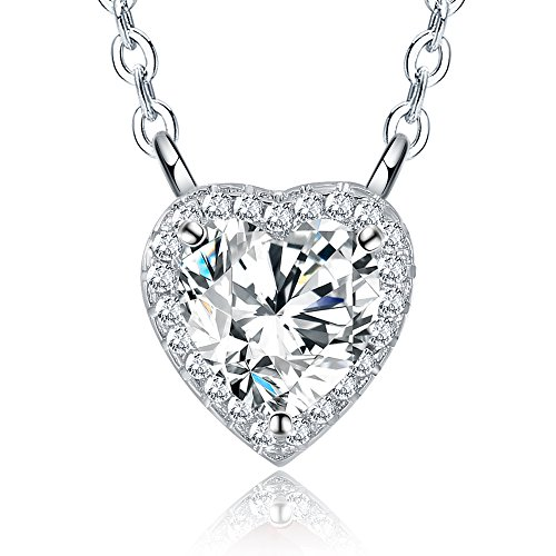 Citled Heart-Shaped Birthstone Necklace Gem Necklace Pendant Plated Silver 12 Months Birthday Necklace Gift Big CZ Crystal Jewelry Love Pendant for Women Come in Gift Box-BP04Apr. (Heart Box Birthstone)
