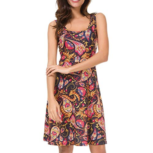 (Casual Floral Summer Sleeveless Dress for Women Red)