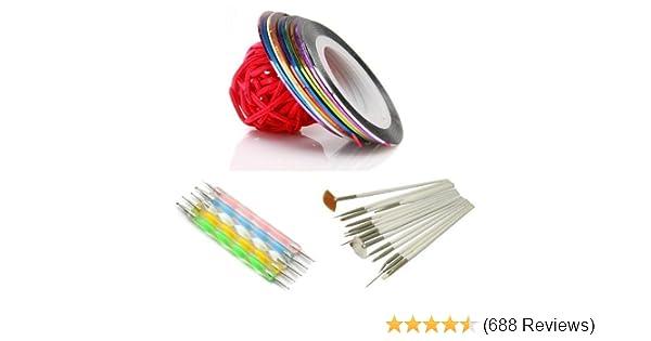 quality design dc947 1966d Amazon.com : 5 X 2way Dotting Pen Marbleizing Tool + 15pcs Nail Art Brush +  Set Of 10 Nail Striping Tape Tool Kit Set : Nail Art Equipment : Beauty