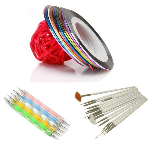 So Beauty 5pcs 2 way Dotting Pen Marbleizing Tool + 15pcs Nail Art Brush +10 Nail Striping Tape Tool Kit Set