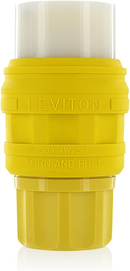 277//480V 3 Phase WYE Leviton 78W82-C 30 Amp Yellow NEMA L22-30 5W Industrial Grade Wetguard Locking Connector for Single Inlet Grounding 4P