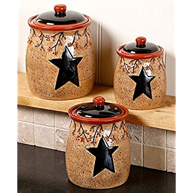 Set of 3 Primitive Rustic Star & Berries Canisters Country Kitchen Storage Organizer Counter Top Decor Ceramic Jars