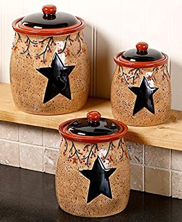 Set Of 3 Primitive Rustic Star Berries Canisters Country Kitchen Storage Organizer Counter Top Decor