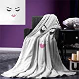 Anniutwo Eyelash Digital Printing Blanket Closed Eyes Pink Lipstick Glamor Makeup Cosmetics Beauty Feminine Design Custom Design Cozy Flannel Blanket 80''x60'' Fuchsia Black White
