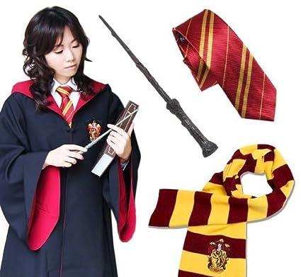 Varita m?gica y corbata y bufanda Harry Hermione Ron talla L ...