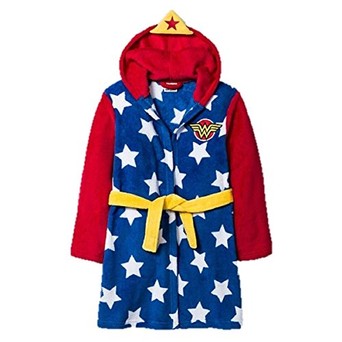 Girls Marvel Wonder Woman Star Spangled Hooded Bathrobe Robe Pajama Set - Marvel Woman Wonder
