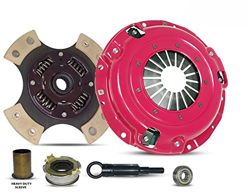 Clutch Kit And Sleeve Works With Subaru Forester Impreza Legacy X Base Limited Premium Touring Outback L H6 L.L. Bean VDC Sedan Wagon 1996-2012 2.0L H4 2.5L H4 3.0L H6 (4-Puck Clutch Disc Stage 3) (Wrx Subaru 2012 Clutch)