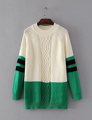 BaiChunYunYi Damen Standard Pullover-Ausgehen Lässig Alltäglich Einfach Gestreift Einfarbig Rundhalsausschnitt Langarm Acryl Herbst Winter Dünn Mittel