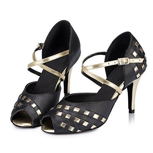 Misu Womens Sandali Peep Toe Latini Salsa Tango Pratica Scarpe Da Ballo Sala Da Ballo Con 3,3 Tacco