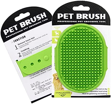 Dog Grooming Brush, Pet Bath Brushes Pet Shampoo Bath Brush Soothing Massage Rubber Comb with Adjustable Ring Handle for Long Short Haired Dogs Puppy Cats Rabbits Remove More Dirt & Loose Hair (Green)