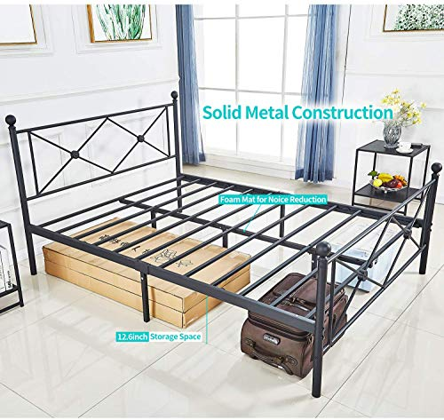 Queen Bed Frame, Platform Metal Bed Frame Foundation Queen Size with Headboard and Footboard 6