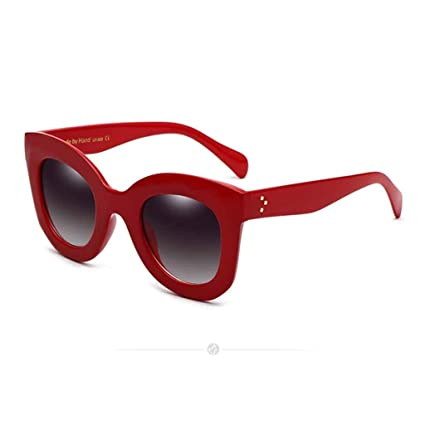 SUN HUIJIE Lentes espejadas de Gran tamaño Cateye Gafas de ...