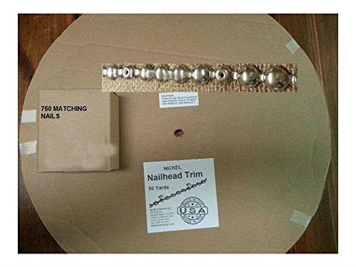 150 ft NICKEL Tackstrips Roll &750 Nail Decorativ Upholstery Strip Nailhead - Large Nailhead Trim