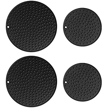 Extra Large, Extra Thick Silicone Trivet Mat Set For Hot Dishes,Pots and Pans, Kitchen Hot Pads for Countertop and Table, Silicone Pot Holders, 2 Extra Large and 2 Regular Sizes S/4 (Black)