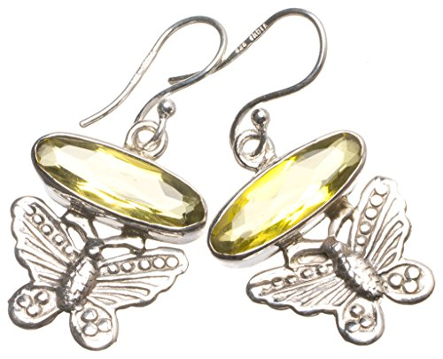 Natural Citrine Butterfly Handmade Mexican 925 Sterling Silver Earrings 1 1/2