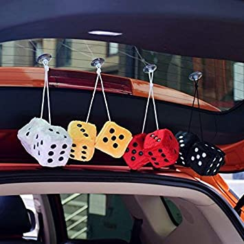 Ygmoner Coppia di dadi quadrati da appendere a specchio retr/ò con pois per decorazione interni auto viola