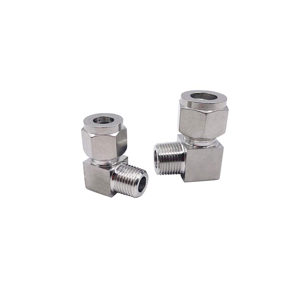 Metalwork 304 Stainless Steel Compression Tube Fitting, 90 Degree Male Elbow, 3/8'' NPT Male x 12mm OD (5 Pcs) by Metalwork (Image #1)