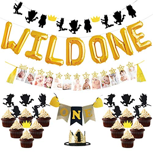 - KREATWOW Wild One Birthday Party Decorations for Boy Black and Gold Party Hat Balloons Highchair Banner for Baby First Party Supplies Millstone Photo Banner