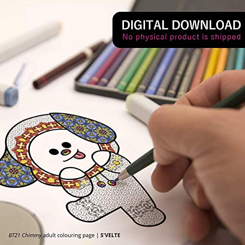 BT21 Chimmy by BTS Jimin: Downloadable digital coloring page for adults. A fanart printable by S'VELTE.