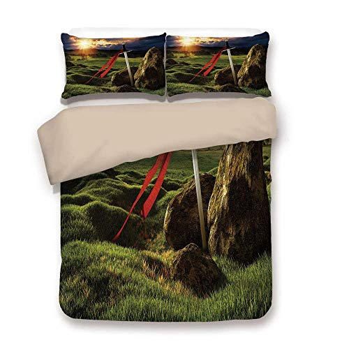 Yaoni Duvet Cover Set,Back of Khaki,King,Arthur Camelot Legend Myth in England Ireland Fields Invincible Sword Image,Green Blue and Red,Decorative 3 Pcs Bedding Set by 2 Pillow Shams,Twin