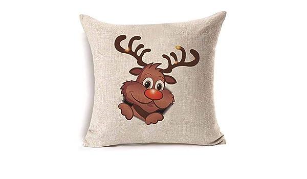 Amazon.com: 4545cm Deer Christmas Cotton Linen Throw Pillow ...