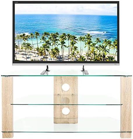 RFIVER Mueble de TV de Esquinero de Cristal de Ancho de 105 con ...