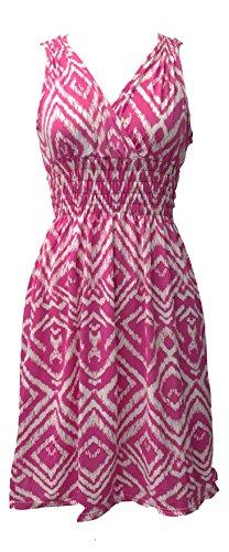 Vibrant V-Neck Knee Length Dress - Assorted Styles Plus & Regular Sizes Pink Ikat XL