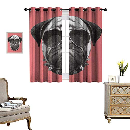 Animal Thermal Insulating Blackout Curtain Pink Backdropped Hand Drawn Cute Pug Dog with Sunglasses and Colar Illustration Patterned Drape for Glass Door W63 x L45 Coral and - Electric Sunglasses Valence