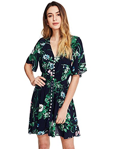 Floral Green Print (Milumia Women's Button Up Split Floral Print Flowy Party Short  Dress X-Large a-Multicolor-Green)