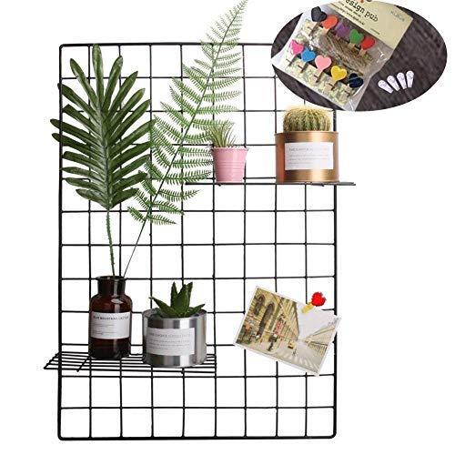 Plaviya Grid Photo Wall, Black Grid Panel Decorative Iron Rack Clip Photograph Wall Art Display PhotoWall Hanging Picture Wall 2 Packs, 25.6 x17.7inch