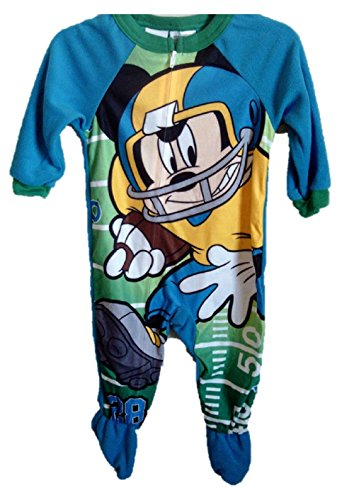 """Disney Mickey Mouse Boys Todder """"Football"""" Footed Pajamas (4t)"""
