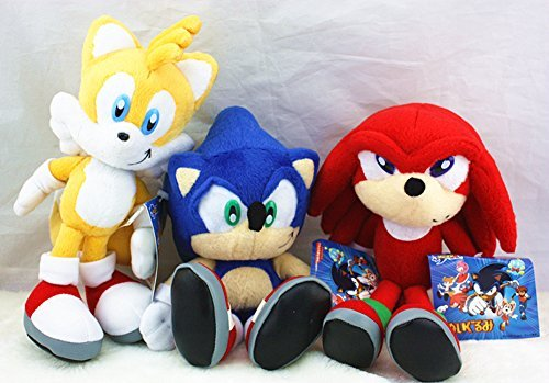 3pcs Sega Sonic the Hedgehog Classic Character Plush Stuffed Doll Toy Rare Style by Speedup