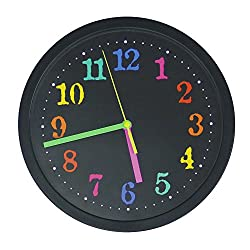 Modern Creative Round 10-inch Non Ticking Silent Wall Clock - Colorful Black