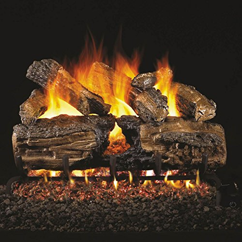 Peterson Real Fyre 24-inch Burnt Split Oak Log Set With Vented Natural Gas Ansi Certified G46 Burner - Variable Flame Remote