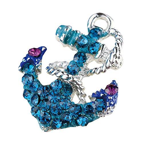 - Creative DIY Blue Crystal Anchor Charms Pendants Wholesale (Set of 3) MH74
