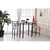 Hodedah HITC85 High Table with 2 Chairs, Bronze