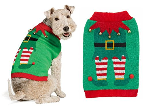Pet Holiday Christmas Elf Dog Pet Sweater / Costume - Size Medium (Easy, Comfortable, Cute!)