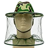 Hosaire 1 Pcs Beekeeper Beekeeping Outdoor Anti-mosquito Mask / Camouflage Large Brim Anti-Mosquito Bees Hat Cap with Veil Mosquito Fly Head Net Face Protection