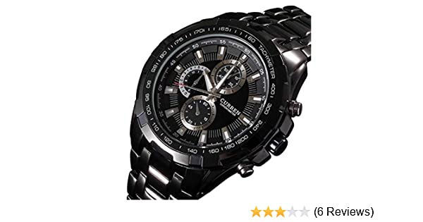 Amazon.com: Curren Men Watch Luxury Military Black Case Stainless Steel Waterproof Analog Quartz Watches Black: Watches