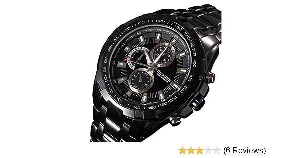 Amazon.com: Curren Men Watch Luxury Military Black Case Stainless Steel Waterproof Analog Quartz Watches Black: Watches