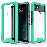 Zizo ION Series Google Pixel 2 XL Case - Military Grade Drop Tested with Clear Tempered Glass Screen Protector (Teal & Clear)