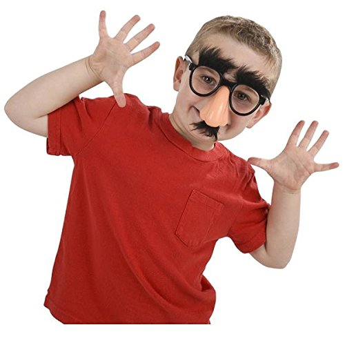 Childrens Groucho Glasses: Nose, Eyebrows And Fuzzy Mustache Glasses (Package of - Goofy Big Glasses