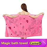 maket Bath Towels Fashion Lady Girls Wearable Fast Drying Magic Bath Towel Beach Spa Bathrobes Bath Skirt(Multi-Color,Deep Pink)