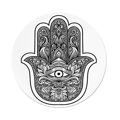 iPrint Polyester Round Tablecloth,Hamsa,Boho Chic Style Line Art