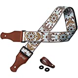 TimbreGear Vintage Woven Collection Strap Set For Acoustic and Electric Guitar + FREE GENUINE LEATHER STRAP BUTTON AND SAFETY LOCKS INCLUDED BEST STRAP BUNDLE (brown)