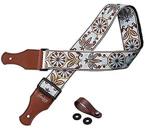 TimbreGear Vintage Woven Collection Strap Set For Acoustic and Electric Guitar FREE STRAP BUTTON AND LOCKS INCLUDED BEST STRAP BUNDLE (Guitar Strap Felt)