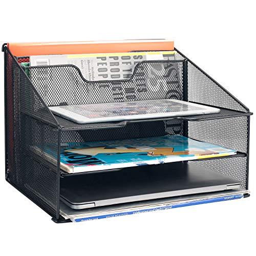 Samstar Mesh Desk File Organizer Letter Tray Holder, Desktop File Holder with 3 Paper Trays and 2 Vertical Upright Section, ()