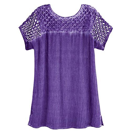 Yoke Cutwork - Women's Lattice Cutwork Top - Rhinestone Embellished Crinkled Fabric Shirt - Violet - XL