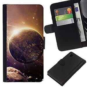 // PHONE CASE GIFT // Moda Estuche Funda de Cuero Billetera Tarjeta de crédito dinero bolsa Cubierta de proteccion Caso Sony Xperia Z1 L39 / Space Planet Galaxy Stars 27 /