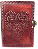 Vintage Large Heart Leather Journal Embossed Travel Diary Handmade Bound Notebook for Men & Women with Lock Closure…